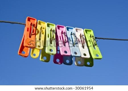 Cloth Pegs - stock photo