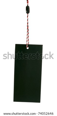 Clothes  blank black  label isolated on white - stock photo