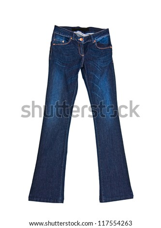 clothes for females - Jeans pants isolated on white background - stock photo