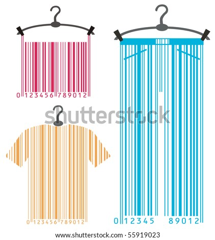 clothes-hanger and barcode - stock photo