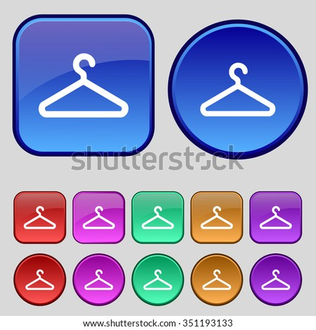 clothes hanger icon sign. A set of twelve vintage buttons for your design. illustration - stock photo