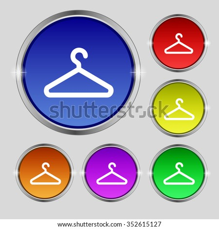 clothes hanger icon sign. Round symbol on bright colourful buttons. illustration - stock photo