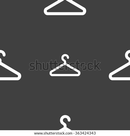 clothes hanger icon sign. Seamless pattern on a gray background. illustration - stock photo