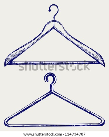 Clothes hangers. Doodle style. Raster version - stock photo