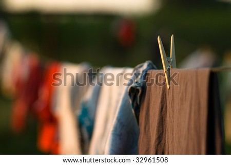 Clothes hung out to dry - stock photo