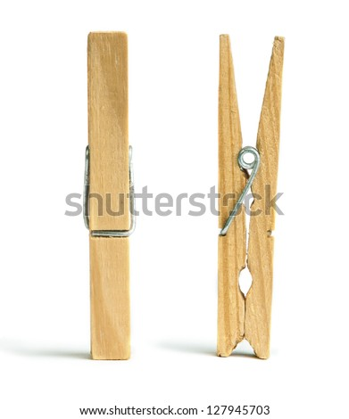 Clothes natural wooden peg. Isolated studio shot - stock photo
