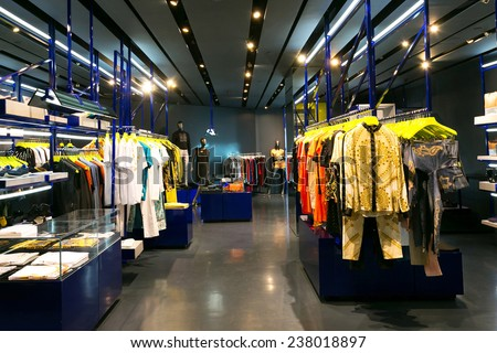 clothes shop interior  - stock photo
