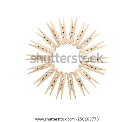 Clothespins line up in circle , clipping path , copy space - stock photo