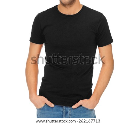 clothing design concept - handsome man in blank black t-shirt - stock photo