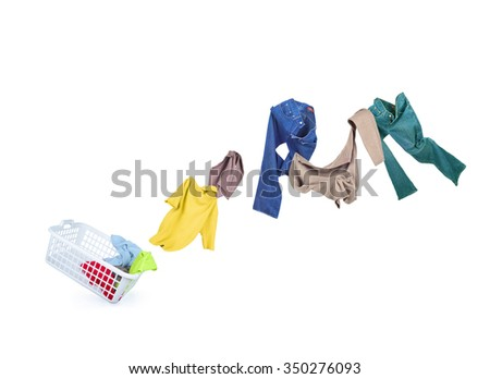 Clothing falls into a Laundry basket - stock photo
