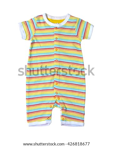Clothing for baby boy isolated on white background, selective focus. Clipping path included.  - stock photo