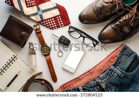 Clothing for men on white background - stock photo