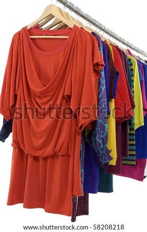 clothing on hanger in a row - stock photo