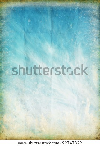 cloud and blue sky on old grunge paper ,retro background - stock photo