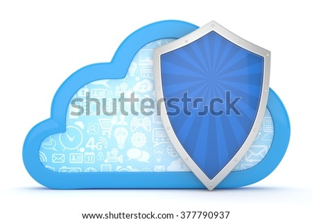 cloud and shield, cloud security concept - stock photo