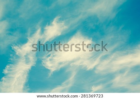 Cloud and sky in retro filter. - stock photo
