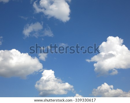 cloud and summer sky, Blue sky with clouds flow follow wind background, rain clouds.                 - stock photo