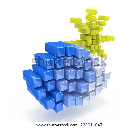 cloud and sun in the form of cubes  - stock photo