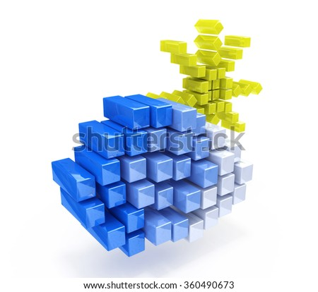 cloud and sun in the form of cubes in the design of the information related to the nature and the weather - stock photo