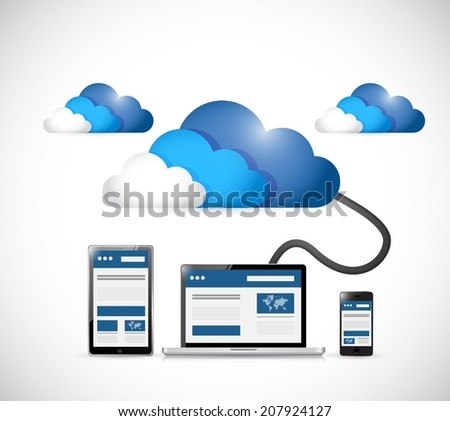 cloud and web platforms technology illustration design over a white background - stock photo