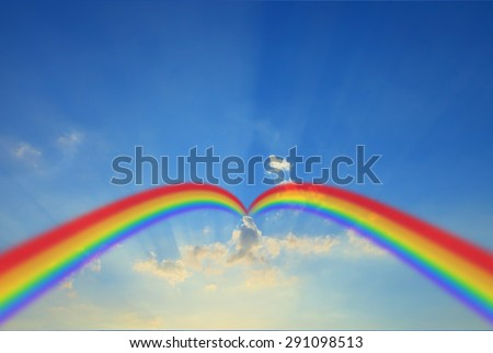 cloud blue sky background cloudy texture rainbow.Sky background landscape beam beam cloud light Rainbow.