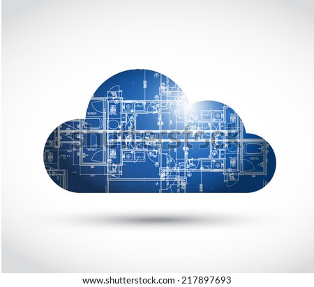 cloud computing and blueprint illustration design over a white background - stock photo