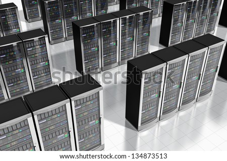 Cloud computing and computer telecommunication technology concept: rows of network server racks in datacenter - stock photo