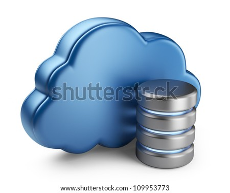 Cloud computing and database. 3D icon isolated on white background - stock photo