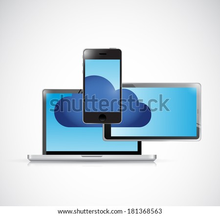 cloud computing and electronics illustration design over a white background - stock photo
