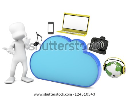 Cloud computing and mobility concept, music, laptop, camera photo and 3d character. 3d render image. - stock photo