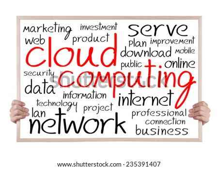 cloud computing and other related words handwritten on whiteboard with hands - stock photo