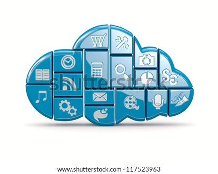 Cloud computing. Application icons on white background. 3d - stock photo