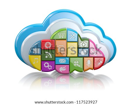 Cloud computing. Clouds as application icons on white background. 3d - stock photo