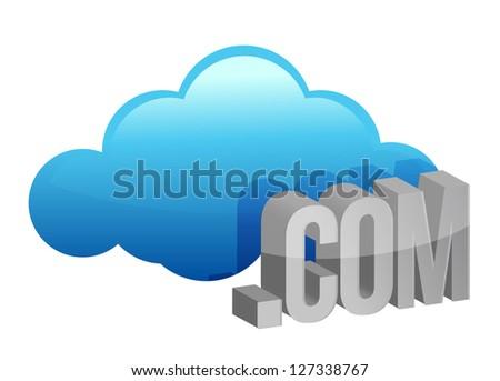 Cloud computing .com illustration design over a white background - stock photo