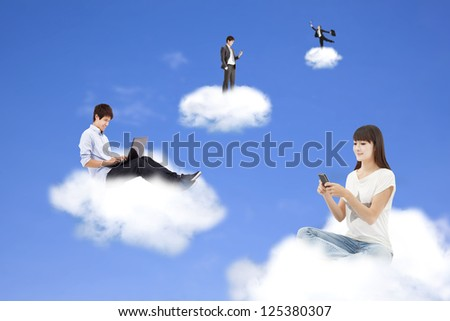 cloud computing concept and technology lifestyle - stock photo