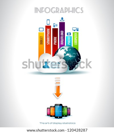Cloud Computing concept background with a lot of icons: tablet, smartphone, computer, desktop, monitor, music, downloads and so on - stock photo