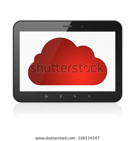 Cloud computing concept: black tablet pc computer with Cloud icon on display. Modern portable touch pad on White background, 3d render - stock photo