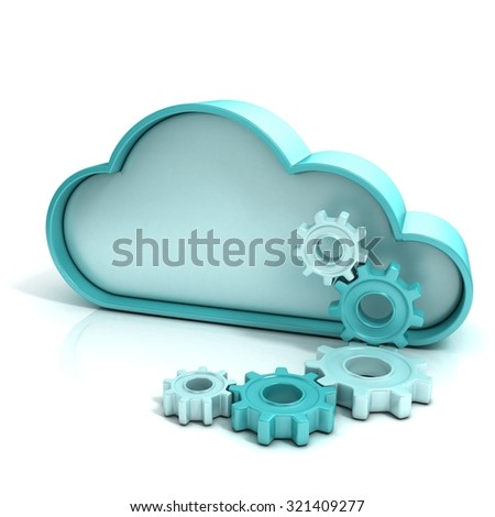 Cloud computing concept 3d computer icon isolated - stock photo