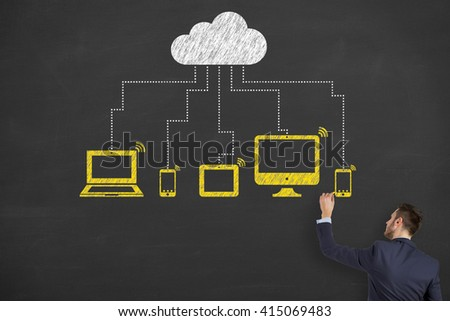 Cloud Computing Concept Drawing on Chalkboard, Modern Communication Technology - stock photo