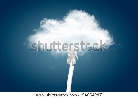 Cloud computing concept. ethernet cable is connected to the cloud. - stock photo