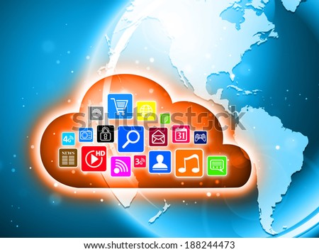 Cloud computing concept for business presentations - stock photo