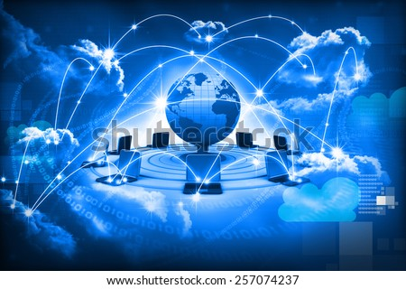 Cloud computing concept, global computer network  - stock photo