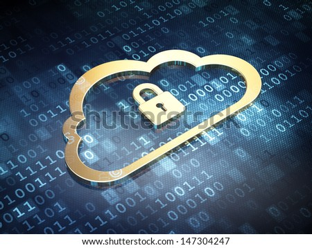 Cloud computing concept: Golden Cloud With Padlock on digital background, 3d render - stock photo