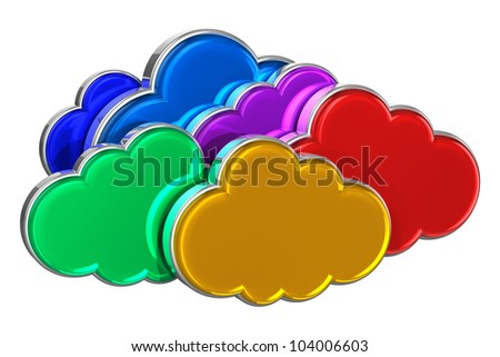 Cloud computing concept: group of colorful glossy clouds isolated on white background - stock photo