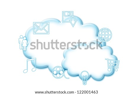 Cloud computing concept illustration isolated on white - stock photo
