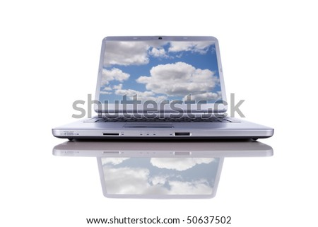 Cloud computing concept in a modern laptop isolated on white - stock photo