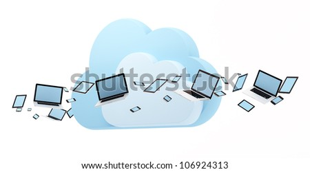 Cloud computing concept. Laptop, tablet pc and smart phones flow around cloud. - stock photo