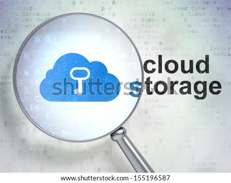 Cloud computing concept: magnifying optical glass with Cloud With Key icon and Cloud Storage word on digital background, 3d render - stock photo