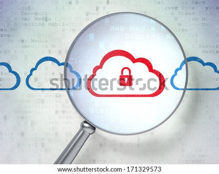 Cloud computing concept: magnifying optical glass with Cloud With Padlock icons on digital background, 3d render - stock photo