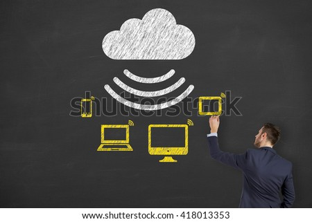 Cloud Computing Concept, Modern Technology - stock photo